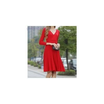ドレス ニット エレガント フォーマル パーティー 大きいサイズ 秋 レディース 女性 長袖 膝丈 赤 黒