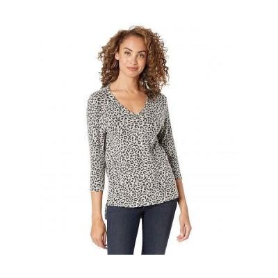 Bobeau レディース 女性用 ファッション Tシャツ Cozy V-Neck Tunic - Heather Grey Leopard