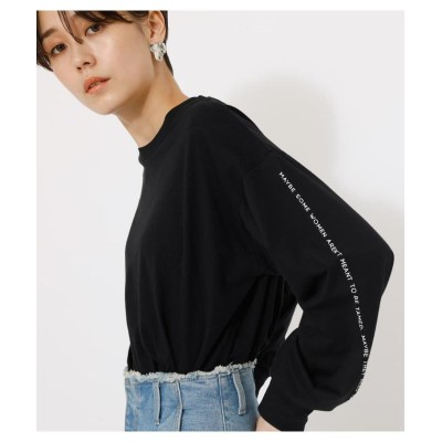 (AZUL by moussy/アズールバイマウジー)SLEEVE LINE LOGO LOOSE TOPS/レディース BLK