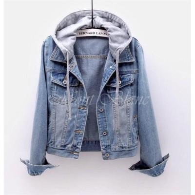 ジャケット レディース デニム フード付き デニムジャケット コート オーバーサイズ ゆったり ジージャン Gジャン アウター 秋 カジュアル 20代 30代 40代