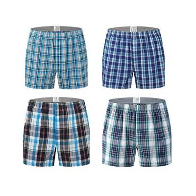 Aliux トランクス メンズ 綿100% 4枚 セット チェック柄 パンツ ショーツ メンズ 下着 肌着 ボタン付き 前開き DS-L