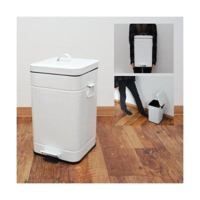 12L ペダル式 ペール ゴミ箱 スクエア ホワイト