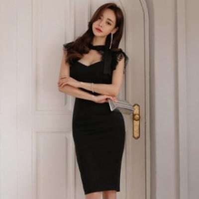 キャバ ドレス 膝丈 シンプル 黒 胸元開き きれいめ 大きいサイズ xl ミニドレス キャバ パーティードレス 膝丈 ワンピース 黒 無地 レー