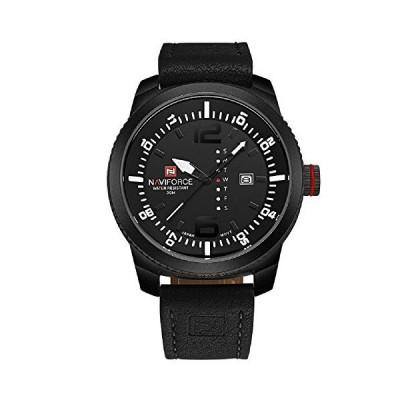 Naviforce Date Week Waterproof Men's Quartz Wrist Leather Strap Casual Watch 9063 with Gift Box【並行輸入品】【自社買い付け品