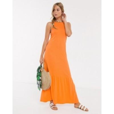 エイソス レディース ワンピース トップス ASOS DESIGN square neck halter maxi dress with pep hem in nectarine Nectarine