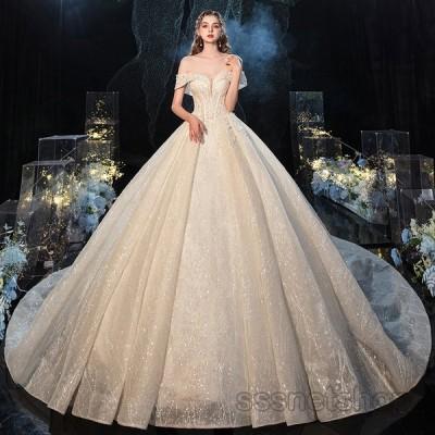 ウェディングドレス 結婚式 大きいサイズ トレーンライン Vネック オフショルダー プリンセスドレス 披露宴 パーティードレス 挙式 2020新作【sssnetshop】