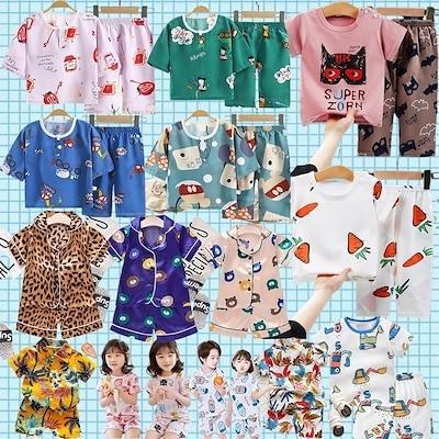 韓国子供服 男の子 女の子 80 90 100 110 120 130 140 150 160 キッズパジャマ 2点セット 春夏 半袖 韓国ファッション 薄手 綿100% ルームウェア