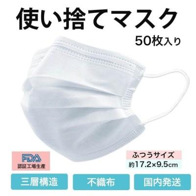 紙マスク 不織布プリーツマスク 50枚 入り 白 (使い捨てマスク)(在庫あり 即納)三層構造  使い捨て マスク 箱 入り マスク