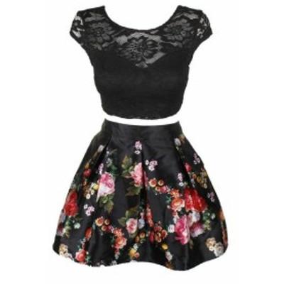 ファッション スカート Teeze me juniors black lace short for skirt and printed trapeze set 5-6