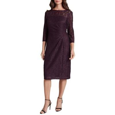 タハリ レディース ワンピース トップス Petite Side Ruched Stretch Beaded Lace Cocktail Dress