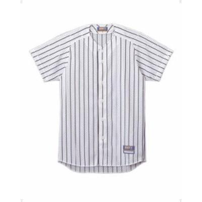 ゼット 野球 ソフト ユニフォーム用ストライプメッシュシャツ 16SS ホワイト/ネイビー ヤキュウユニホーム(bu521-1129)