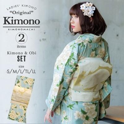 洗える着物 セット「袷着物:桜 水色+京袋帯:日向の白猫」KIMONOMACHI オリジナル 着物と帯の2点セット サイズS/M/L/TL/LL コーディネ