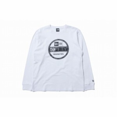 ニューエラ(NEW ERA) 長袖 コットン Tシャツ バイザーステッカー ホワイト × ブラック 11783068
