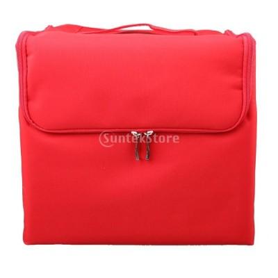 大容量 美容 個人用 化粧品ボックス 引き込み式 旅行 プロ用 便利 サロン メイク コスメボックス ツールボックス レッド