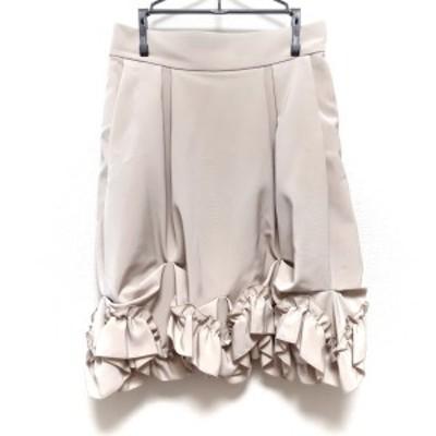フォクシーニューヨーク FOXEY NEW YORK スカート サイズ40 M レディース 美品 - ベージュ ひざ丈【中古】20210701