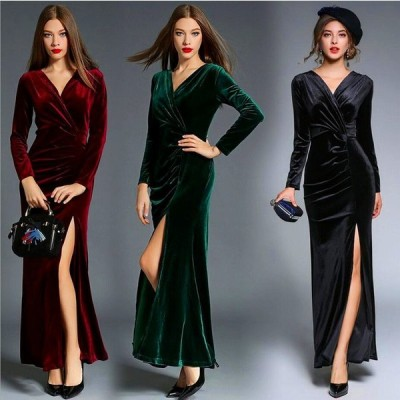 キャバドレス 水商売 艶感 高級感 ベルベット ドレス