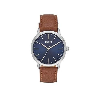 (新品) Relic by Fossil Men's Jeffery Quartz Watch with Leather Calfskin Strap, Brown, 20 (Model: ZR77298)