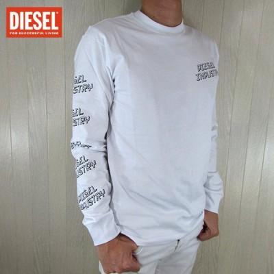 ディーゼル DIESEL Tシャツ 長袖 ロンT 丸首 メンズ クルーネック カットソー T-DIEGO-LS / 100 / ホワイト 白 サイズ:S〜XXL