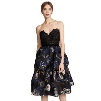 ワンピース マルケッサ ノッテ MARCHESA NOTTE Two Tiered Cocktail Dress Black Lace Bustier 0 2 4 8