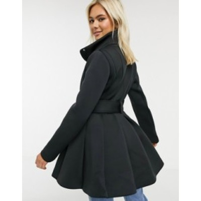 エイソス レディース コート アウター ASOS DESIGN scuba skater coat in black Black