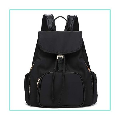 【新品】Waterproof Nylon Women Backpack Purse Multipurpose School Travel Shoulder Bag (Black)(並行輸入品)