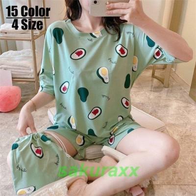 2点セット パジャマ ルームウェア レディース 夏 半袖 半ズボン 薄手 パジャマ ルームウェア 女性 可愛い 部屋着 寝巻き ランジェリー パジャマ 韓国風