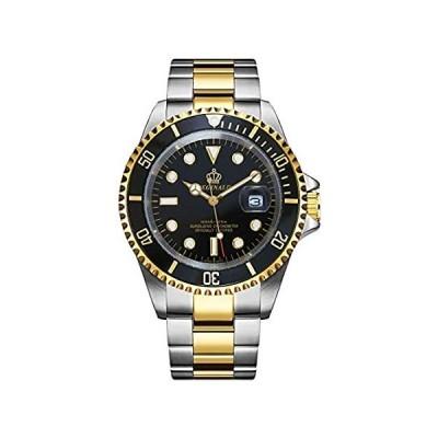 REGINALD メンズ 腕時計 夜光 クォーツ 回転ベゼル サファイアガラス シルバー ステンレススチールバンド ケース 防水 スポーツ ブラック 好評販売中