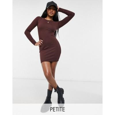 アウトレイジャスフォーチュン ミディドレス レディース Outrageous Fortune Petite exclusive long sleeve mini dress in chocolate エイソス ASOS