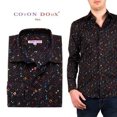 メンズ 長袖シャツ 柄シャツ カジュアルシャツ ブランド ブラック ミュージック 音符  CotonDoux コトンドゥ m01ad1861bmusic