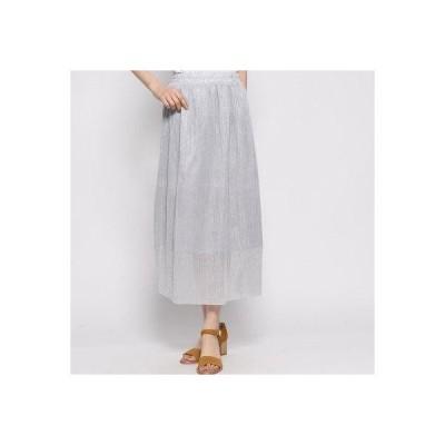 スタイルブロック STYLEBLOCK ラメチュールプリーツスカート (ライトグレー)