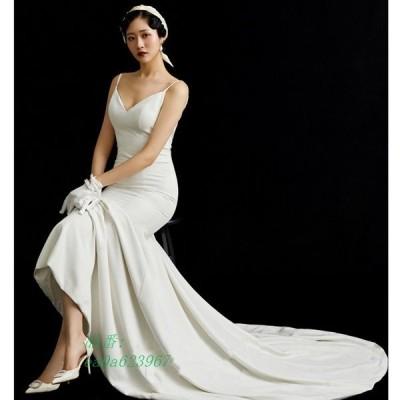 2020新入荷 ウェディングドレス セクシーV襟 露背 簡約 花嫁ロングドレス 二次会 挙式 結婚式 トレーンライン お呼ばれ エレ 姫系