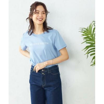 COMME CA ISM/コムサイズム プリントTシャツ サックス L