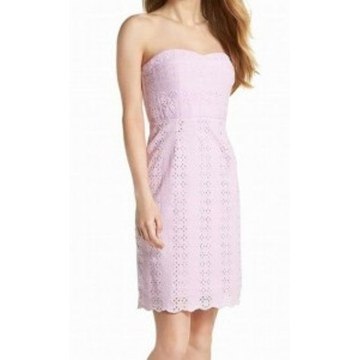 ファッション ドレス J. Crew NEW Pink Sweetheart Eyelet Women 8 Strapless Sheath Dress