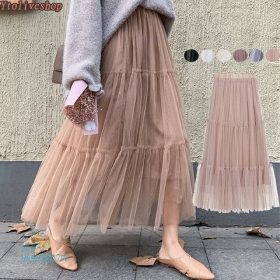 フレア チュールスカート スカート ロングスカート ウエストゴム レディース 切り替え スカート 裏地付き