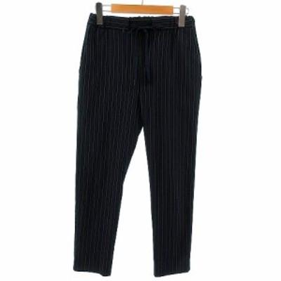 【中古】バナーバレット Banner Barrett パンツ イージーパンツ テーパード リボン 日本製 ネイビー 紺 ホワイト 白 36 レディース