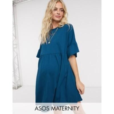 エイソス レディース ワンピース トップス ASOS DESIGN Maternity oversized frill sleeve smock dress in navy blue Navy