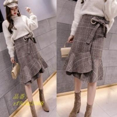 ★最強の新作★韓国ファッション可愛い デザイン ファッション ハイウエスト ロングスカート ニット