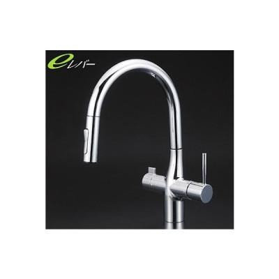 *KVK水栓金具* KM6081STEC キッチン用 浄水器付シングルレバー式シャワー付混合栓 [Z351565付]eレバー〈送料・代引無料〉