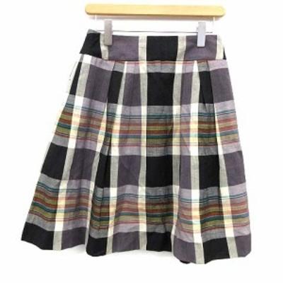 【中古】マーガレットハウエル MARGARET HOWELL スカート ひざ丈 フレア チェック ウール リネン混 2 マルチカラー