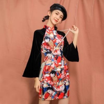可愛いレディースワンピース ショットスカートドレス中国風チャイナ風 ナチュラル エスニッ チャイナドレ学生少女復古スリムラバ袖裾レー