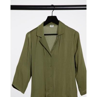 ジェイディーワイ レディース シャツ トップス JDY RAPPA 3/4 sleeve shirt in olive green Martini olive