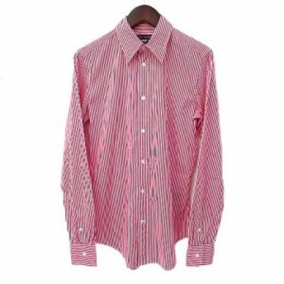 【中古】ラルフローレン RALPH LAUREN シャツ 4 赤 レッド 白 ホワイト 長袖 ストライプ  ポニー 刺繍 メンズ