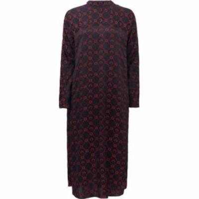 マリーン セル Marine Serre レディース ワンピース ワンピース・ドレス Crescent moon-jacquard silk-blend satin dress Black
