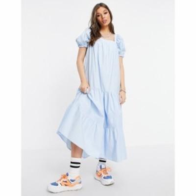 ストラディバリウス Stradivarius レディース ワンピース ミドル丈 ワンピース・ドレス puff sleeve midi smock dress in blue ブルー