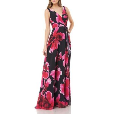カルメンマークバルボ レディース ワンピース トップス Floral Printed Chiffon Surplice Gown