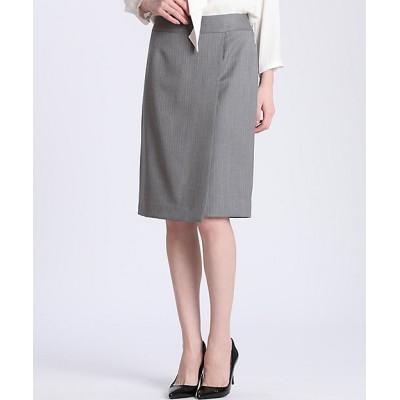 <INED(Women)/イネド> ピンストライプラップデザインスカート チャコールグレー【三越伊勢丹/公式】