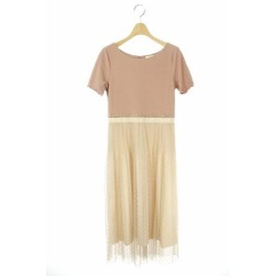 【中古】ジルスチュアート 19SS ドッティカットドレス ワンピース チュール 切替 ロング 半袖 2 ピンク レディース
