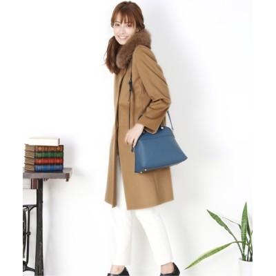 三京商会 / カシミヤ100%ステンカラーロングコートフォックス衿付き WOMEN ジャケット/アウター > ステンカラーコート