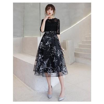 パーティードレス ワンピース 黒ドレス 花柄 フォーマル レース お呼ばれ 成人式 結婚式 二次会 披露宴 安い 五分袖