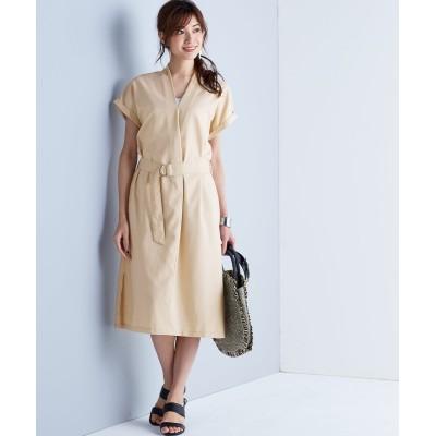 【Hana服】体型カバーも叶う深Vネックワンピース(共布ベルト付) (ワンピース)Dress